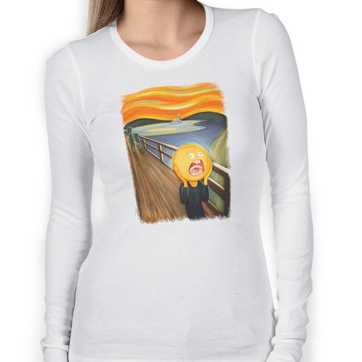 rick and morty screaming sun long sleeve white