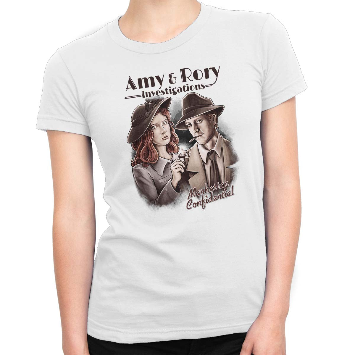 doctor who t-shirt amy & rory women's white