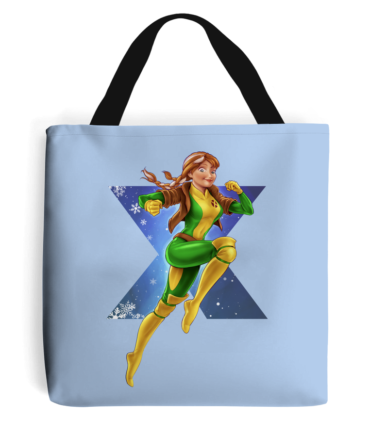 frozen xmen anna rogue tote bag blue