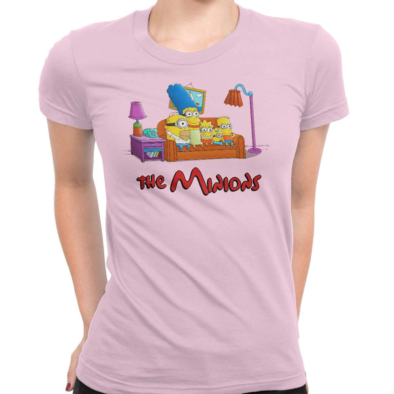 simpsons minions women's t-shirt pink