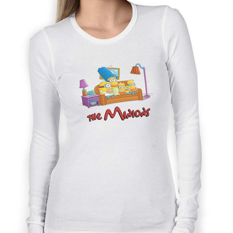 The Simpsons vs The Minions Women's Long Sleeve Tee