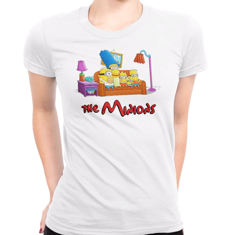 The Simpsons vs The Minions Women's Classic Fitted Tee