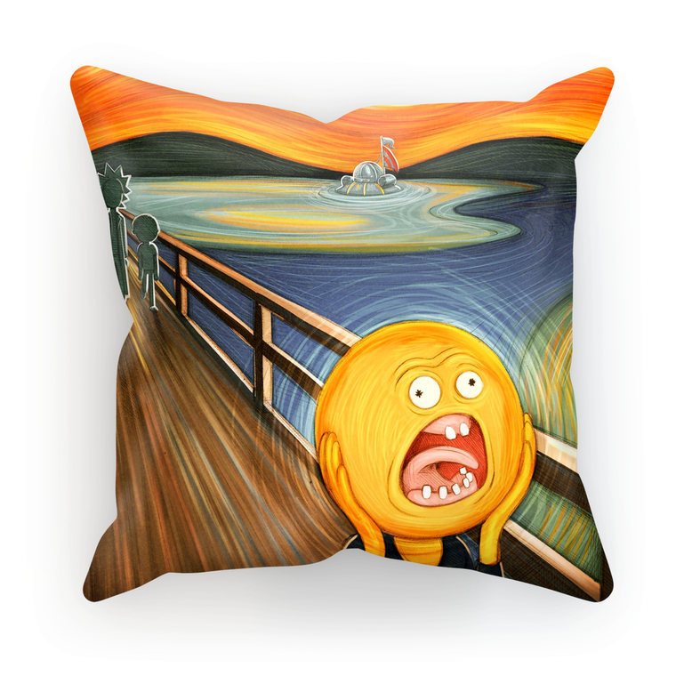 rick and morty screaming sun cushion
