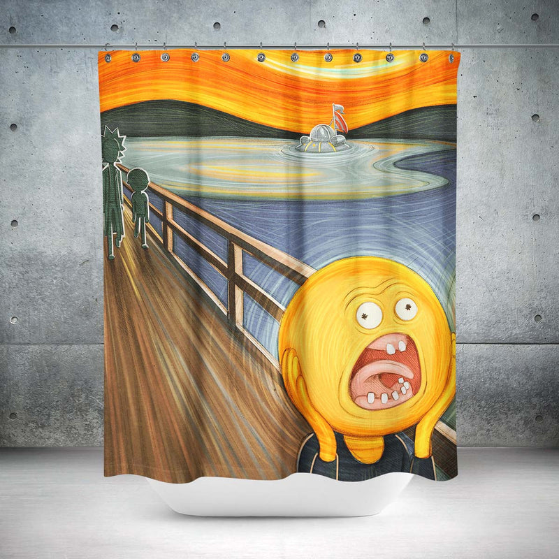rick and morty screaming sun shower curtain