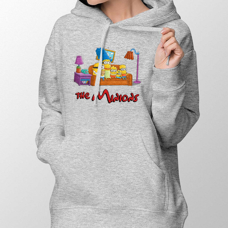 simpsons minions women's hoodie grey