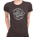 xavier school womens tee brown