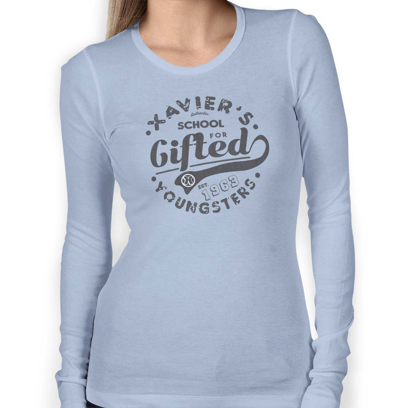 x-men xavier school womens tee light blue