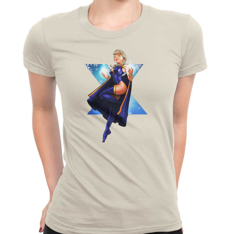 frozen vs x-men t-shirt storm women's natural