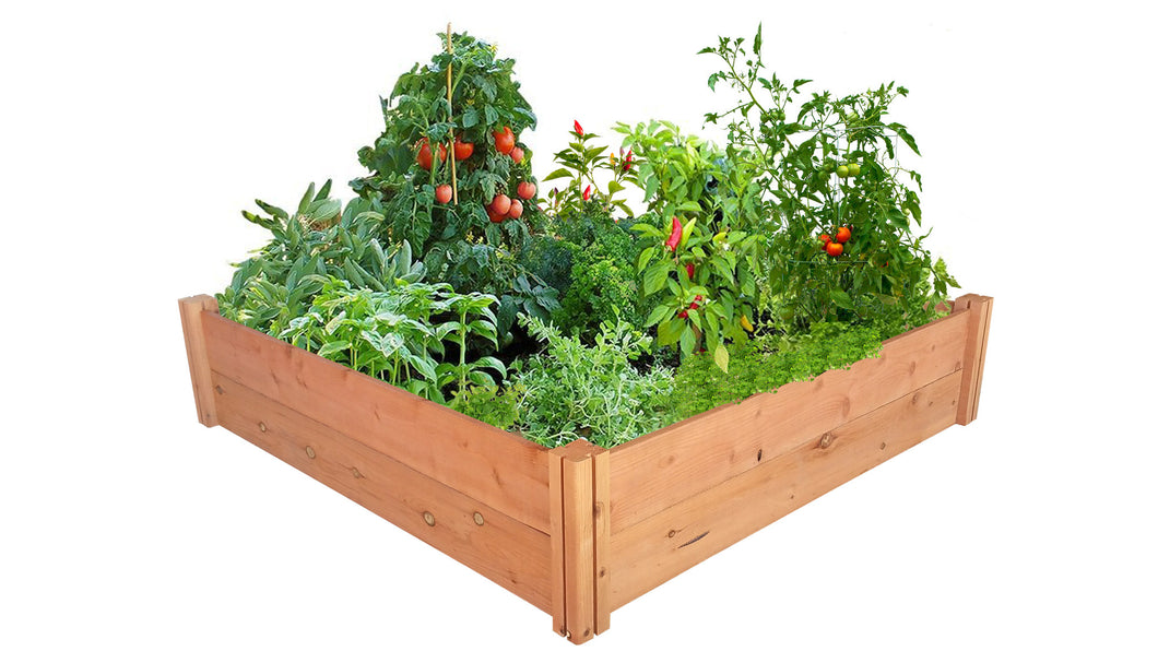 GroGardens 4' x 4' Redwood Raised Garden Bed