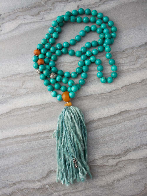 Spirit Mala, in 10mm turquoise with amber accents and sari silk tassel, also has a silver Vajra ~ representing resolute spirit: full view.