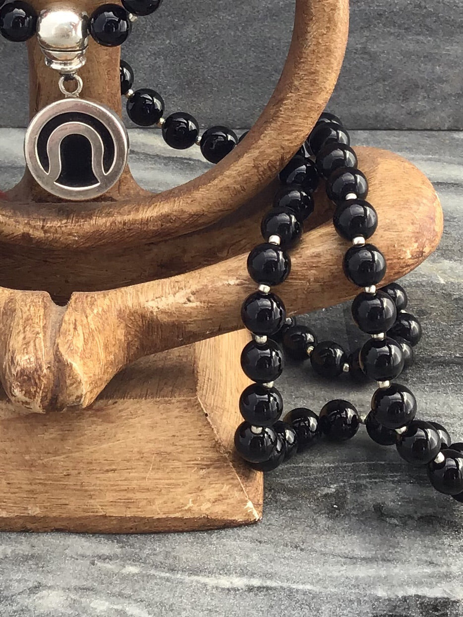 Immortal Am I Celebration Mala in obsidian black onyx with howlite and 925 silver. Bead view.