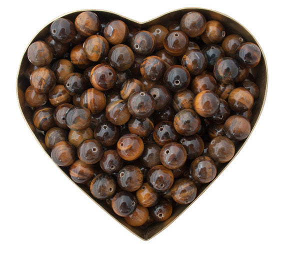 Tigers Eye beads in heart shape