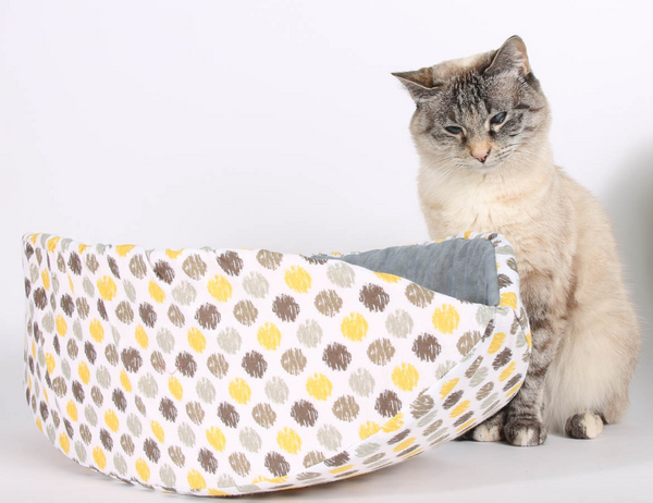 The Cat Ball | Cat Canoe Modern Cat Bed in Yellow and Grey Sunshine Ikat Polka Dots