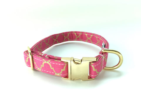 4 Black Paws | Pink & Gold Trefoil Collar