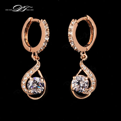 100% FREE! Diamond-CZ Drop Earrings Rose Gold -PAY SHIPPING ONLY