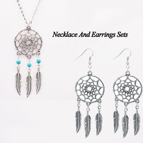 50% OFF Dream Catcher Natural Stone Feather Pendant/Earrings Set FREE SHIPPING!