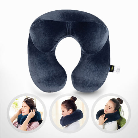 U-Shape Travel Cusion for Airplane Inflatable Neck Pillow