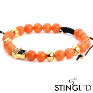 Carnelian Orange Gold Plated Hamsa Hand Stainless Steel Charm Beaded Macrame Bracelet
