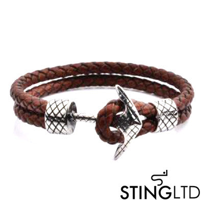 Double Plaited Brown Leather Anchor Bracelet