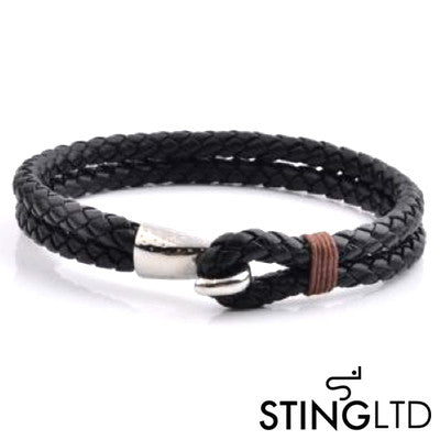 Double Plaited Black and Brown Leather Bracelet
