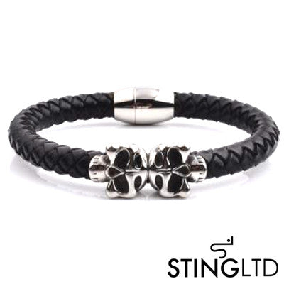 Black Plaited Skull Stainless Steel Leather Bracelet