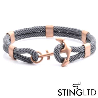 Grey Rose Gold Plated Anchor Stainless Steel Rope Bracelet