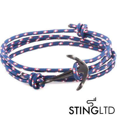 Navy and Red PVD Plated Anchor Stainless Steel Rope Bracelet