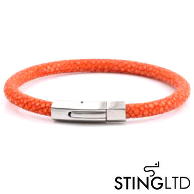 Orange Stingray Leather Stainless Steel Bracelet