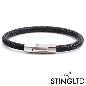 Black Stingray Leather Stainless Steel Bracelet