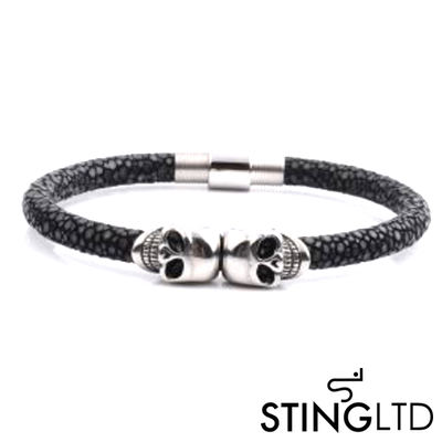Black Stingray Leather Skull Stainless Steel Bracelet