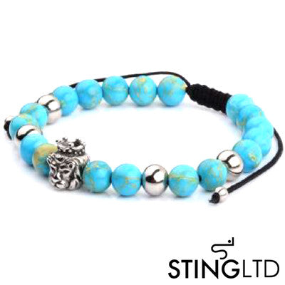 Turquoise Lion Stainless Steel Charm Beaded Macrame Bracelet