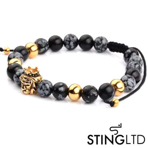 Labradorite Larvikite Gold Plated Lion Stainless Steel Charm Beaded Macrame Bracelet
