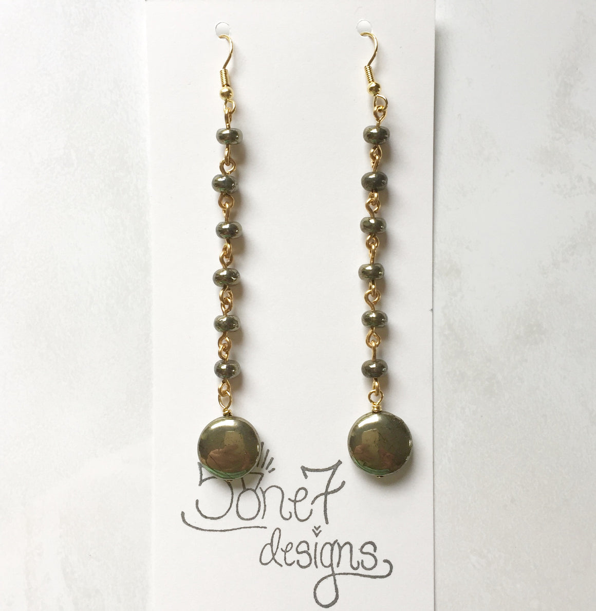 Pyrite Rosary Earrings