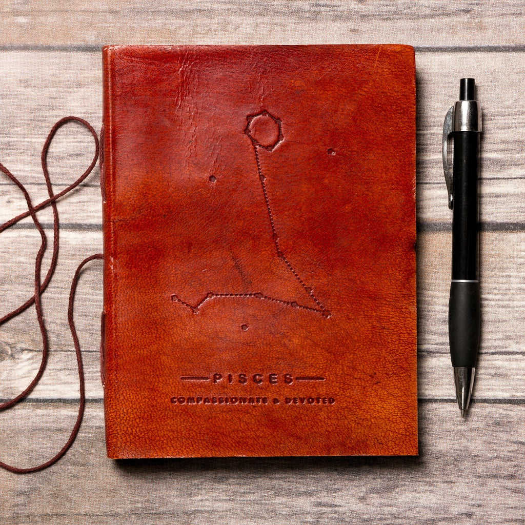 Pisces Zodiac Handmade Leather Journal - 5and15