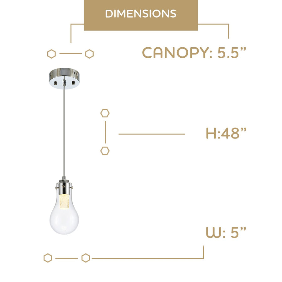 Ohr Lighting® OPAL LED Pendant Light, Chrome/Clear (LD334P)