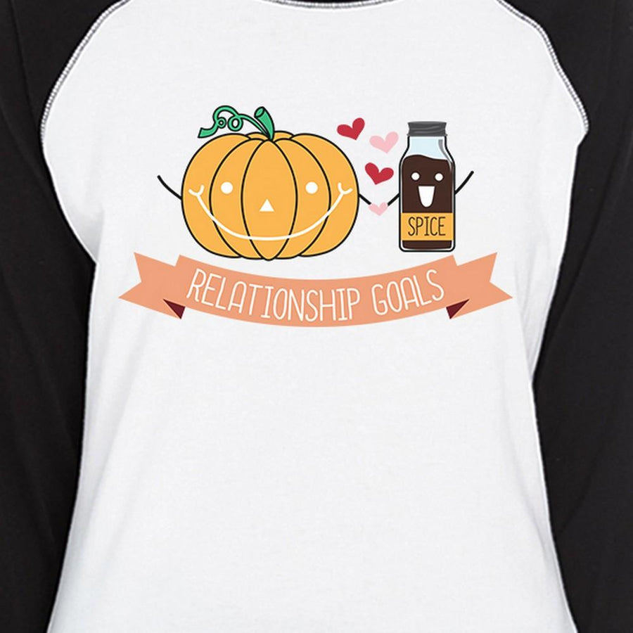 Pumpkin Spice Relationship Goals Womens Black And White BaseBall Shirt - 5and15