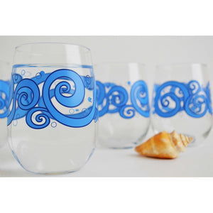 Ocean Waves Stemless Glasses - 5and15