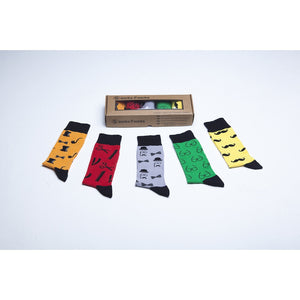 Men's 5-Pair Funky Hipster Mustache Socks - 5and15