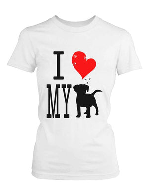 Funny Graphic Statement Womens White T-shirt - I Love My Dog
