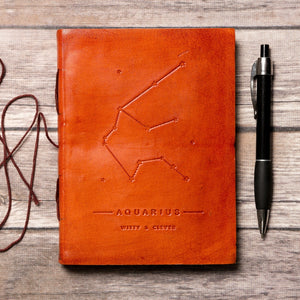 Aquarius Zodiac Handmade Leather Journal - 5and15