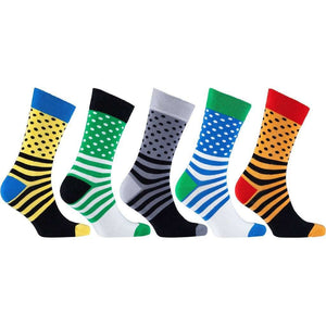 Men's 5-Pair Colorful Polka Dot-Striped Socks - 5and15