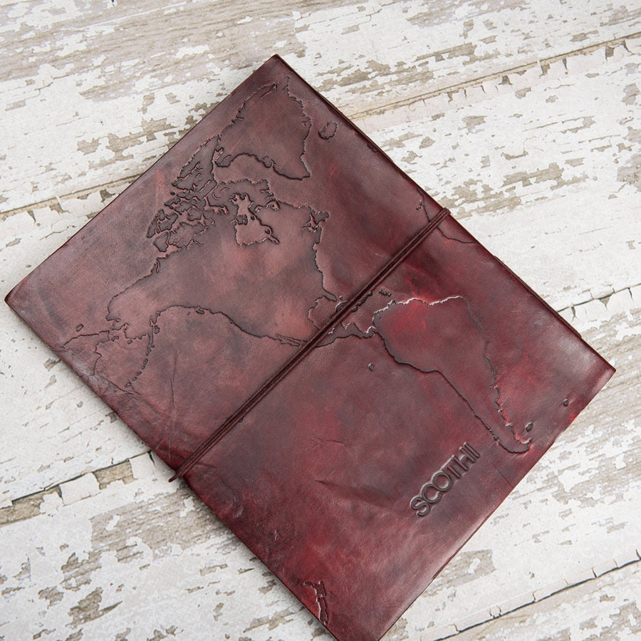 World Map Oversized Large Handmade Leather Journal - 5and15