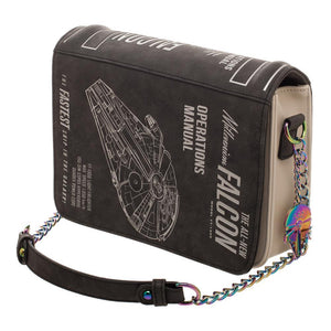Han Solo Millenium Falcon Operations Manual Bag, Disney Star Wars Crossbody Purse - 5and15