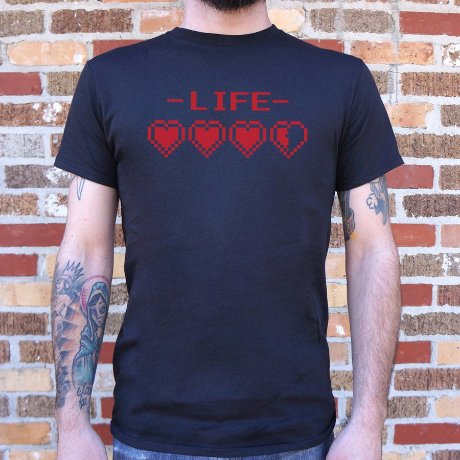 Mens 8-Bit Life Hearts T-Shirt *Free Shipping* - 5and15