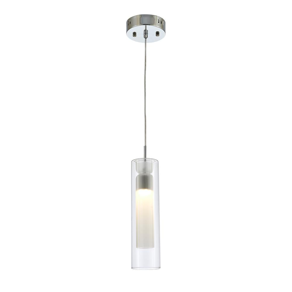 Ohr Lighting® FLUME LED Pendant Light, Chrome/Clear (LD333P)