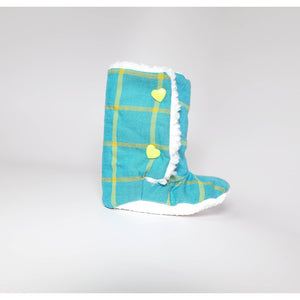 Turquoise Plaid Baby Boots (Organic Cotton) - 5and15