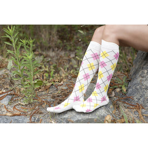 Womens 5-Pair Funky Argyle Design Knee High Socks *Free Shipping* - 5and15