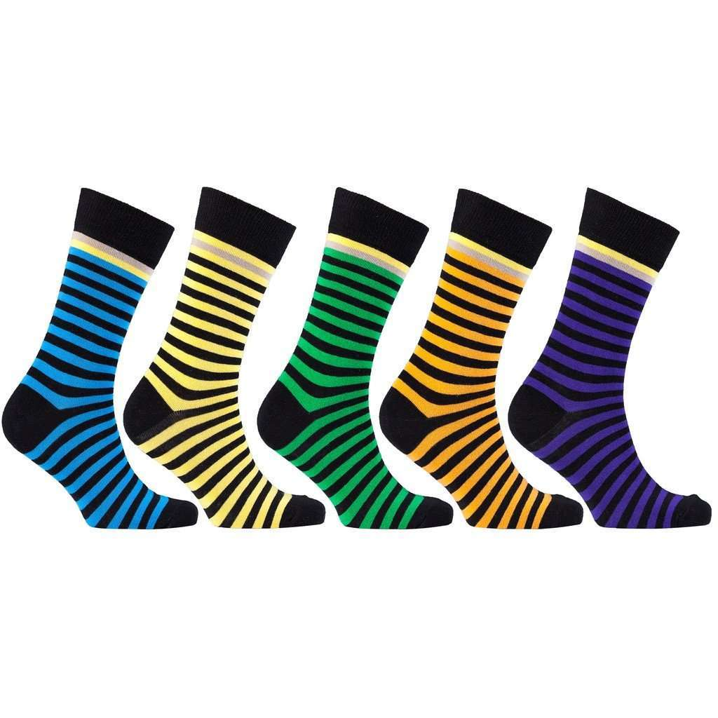 Men's 5-Pair Funky Striped Socks - 5and15