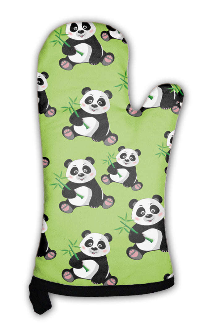 Oven Mitt, Pattern With Sitting Cute Panda And Bamboo *Free Shipping* - 5and15