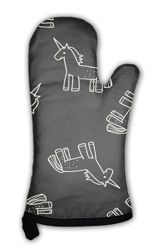 Oven Mitt, Unicorn Doodle Pattern *Free Shipping* - 5and15